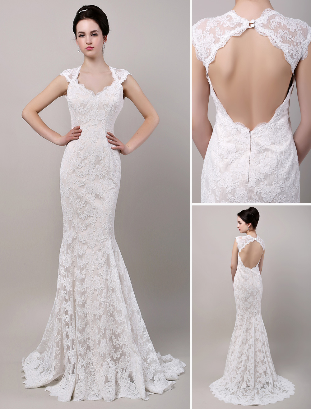 Mermaid sweetheart chapel train open back lace wedding for Lace wedding dresses open back