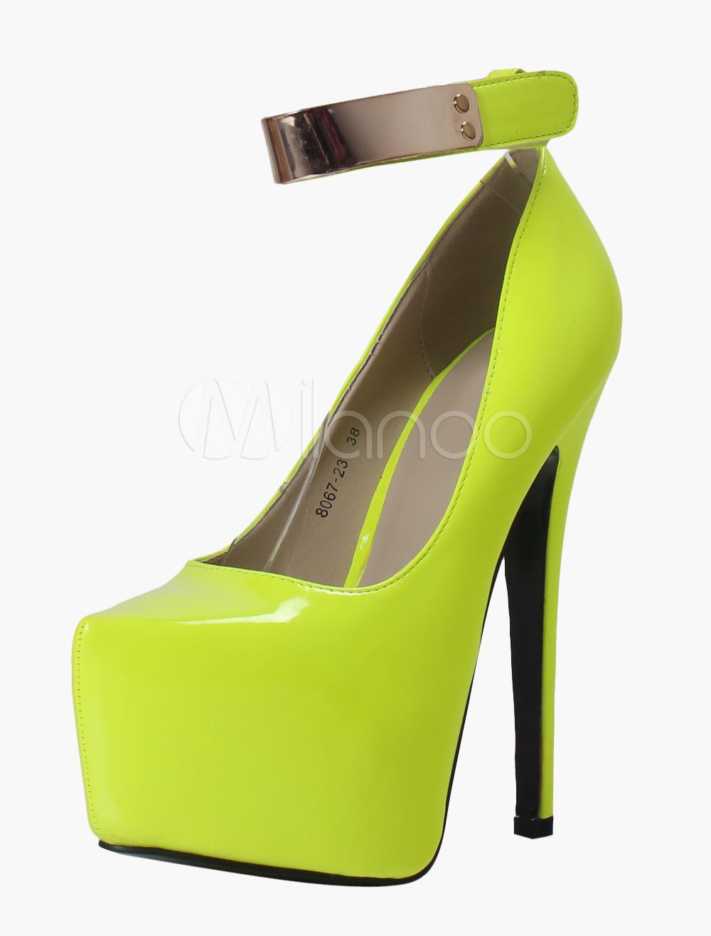 Chaussures à talons aigus et bout pointu en PU jaune fluo avec velcro -No.