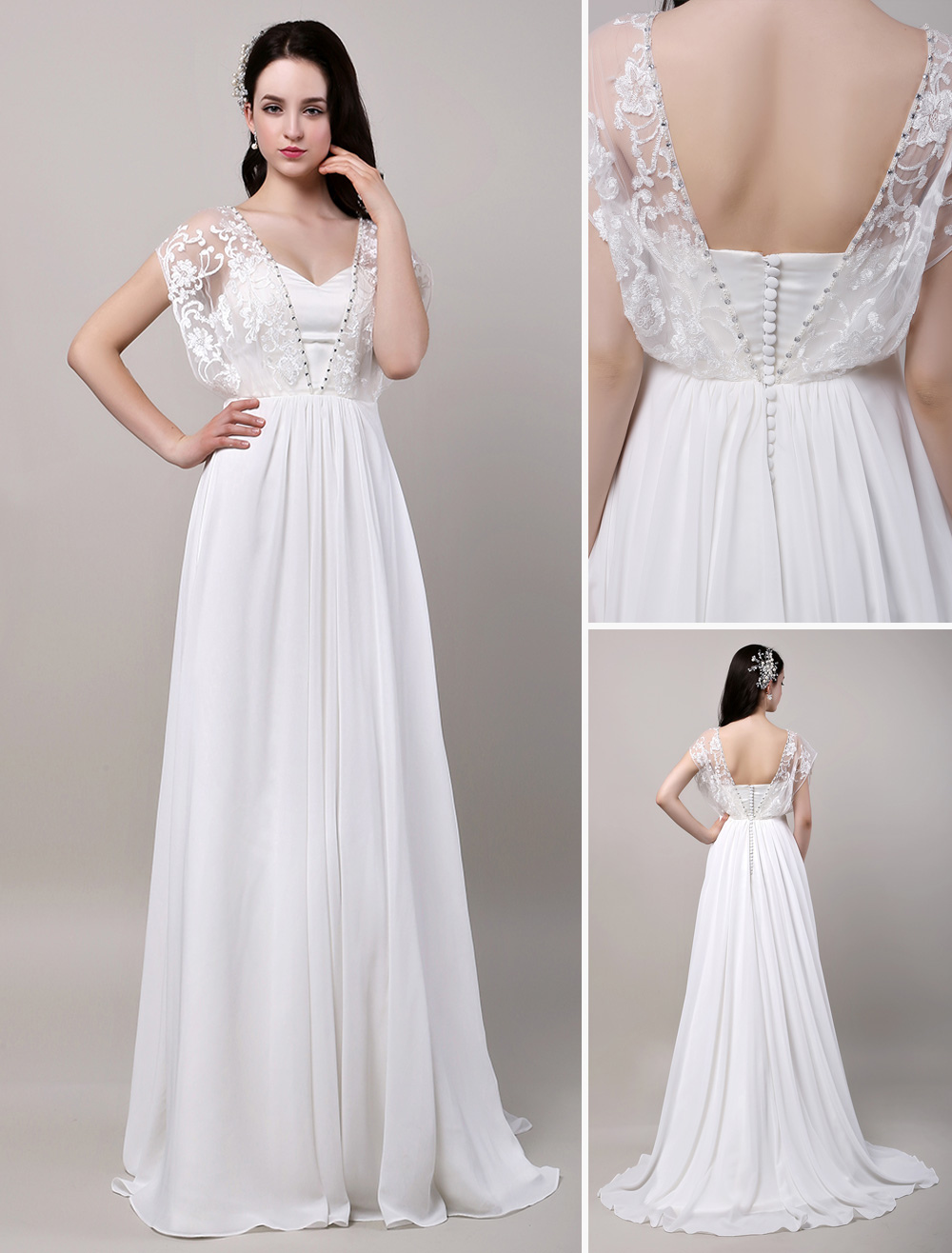 Chiffon wedding dress with lace sleeves