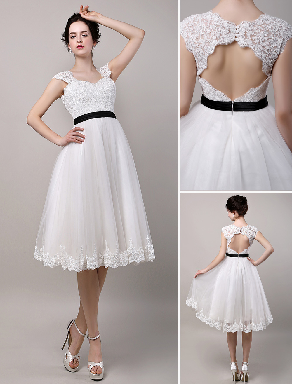 Vintage inspired chic retro keyhole back lace tulle tea for Retro tea length wedding dresses