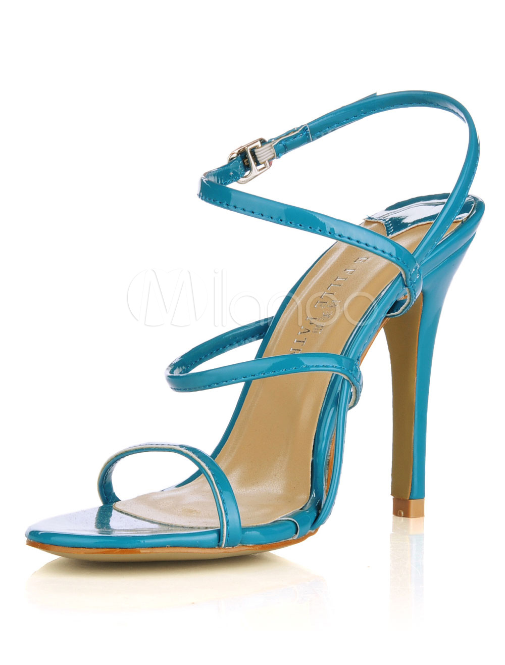 Sexy Royal Blue Patent Leather Criss-Cross Ankle Strap Heel Sandals