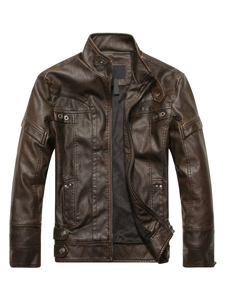 Buy Men Leather Jacket Spring Jacket Stand Collar Long Sleeve Zip Up Motorcycle Jacket for $55.79 in Milanoo store