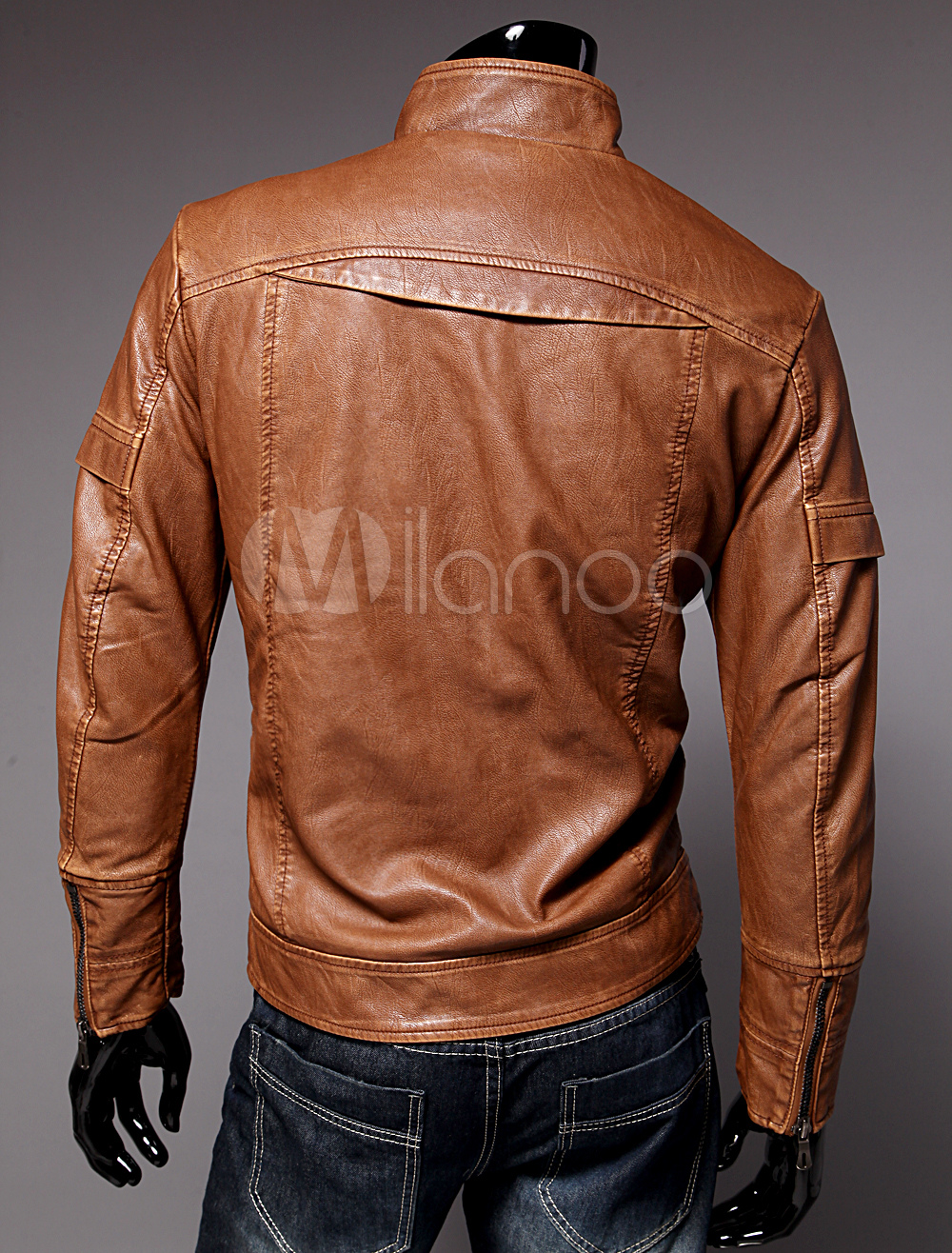 Men Leather Jacket Spring Jacket Stand Collar Long Sleeve