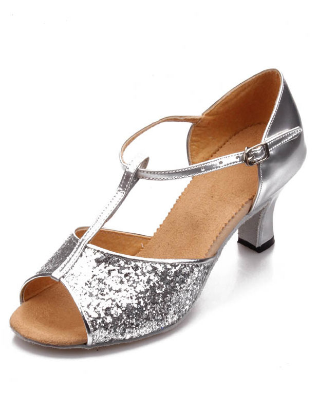 Latin Dancing Shoes 2018 Silver Ballroom Dance Shoes Sequined Open Toe T Type Dance Shoes