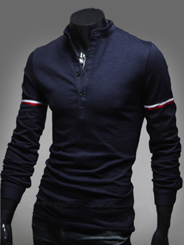 Buy Pure Color Cotton Long Sleeves Mens Polo Shirt for $18.69 in Milanoo store