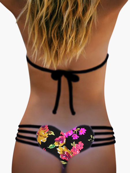 Sexy Bikini Swimwear Strappy Floral Print Cut Out Sexy Bikini Bottom