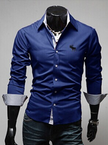 Turndown Collar Long Sleeves Cotton Blend Man's Shirt