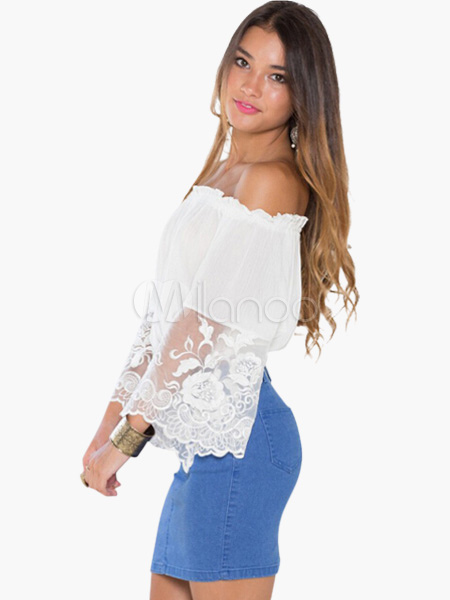 4f861b7bbfa0e ... Off-the-Shoulder Long Flared Sleeves Lace Pleated Crop Top -No.10. 12