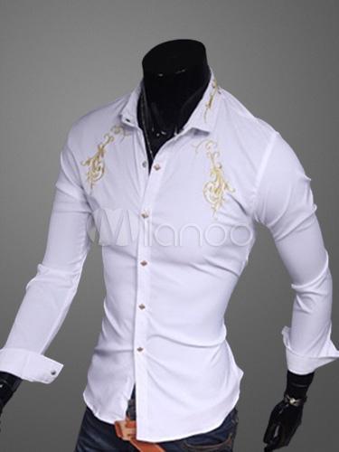 Cotton Blend Long Sleeves Turndown Collar Shirt
