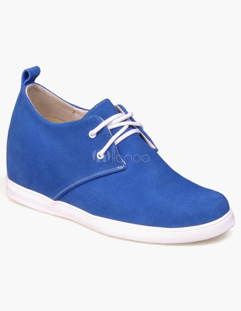 Scarpe da uomo blu di pelle scamosciata con lacci e zeppa - Milanoo.com c30b821bdc7