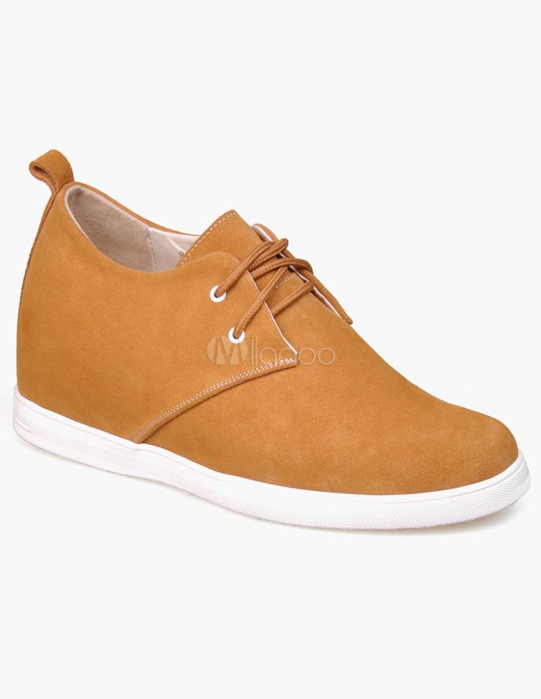 ... Chaussures ascenseur de qualité de rehaussement à lacets et bout amande  en cuir suédé rouge- ...