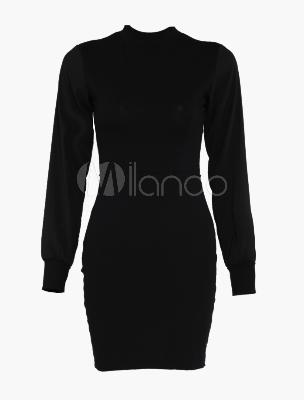 Black High Neck Long Sleeve Backless Dress - Milanoo.com