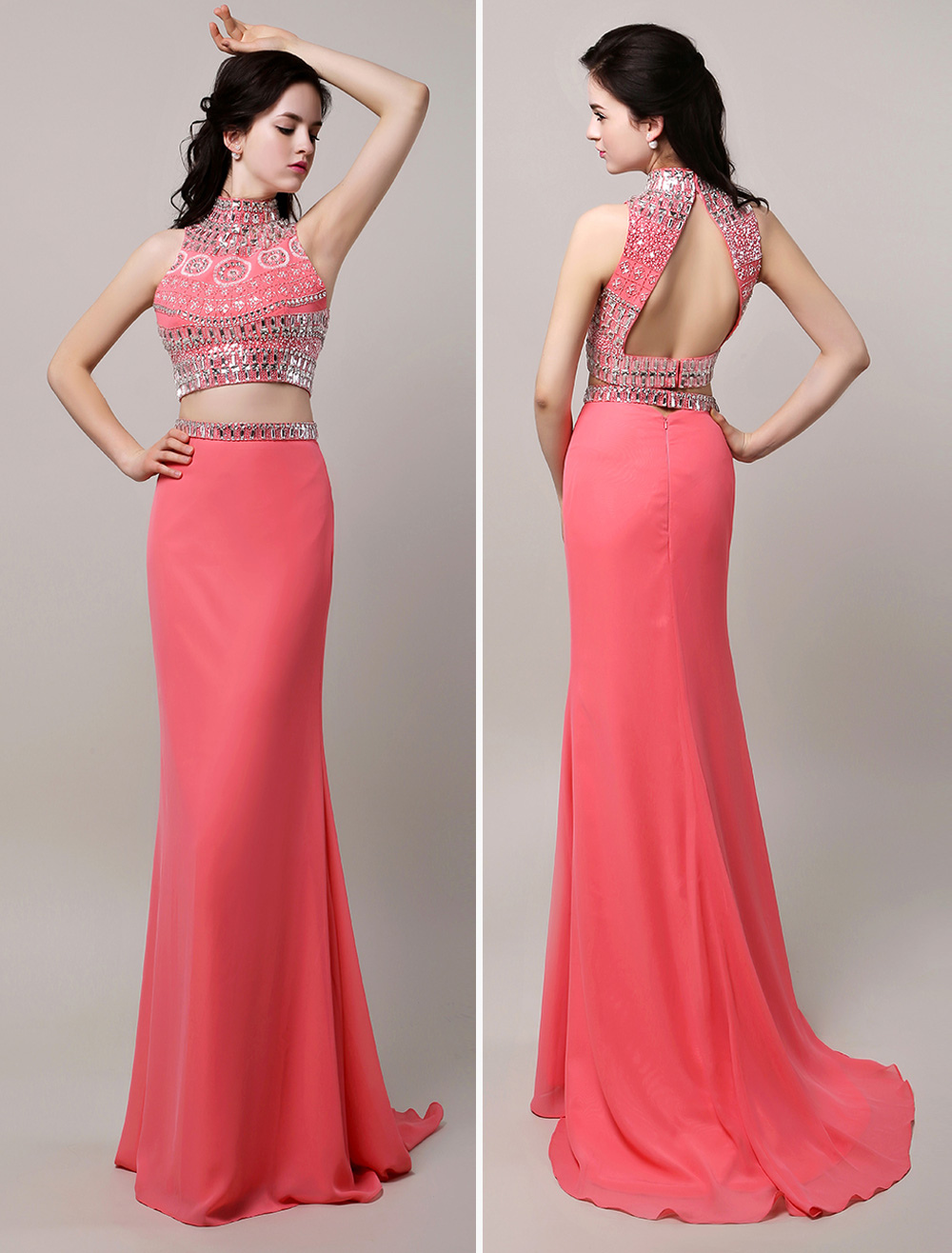Two Piece Prom Dress 2018 Long Coral Crop Top Backless Sheath Beaded High Neck Chiffon Sweep Train Party Dress