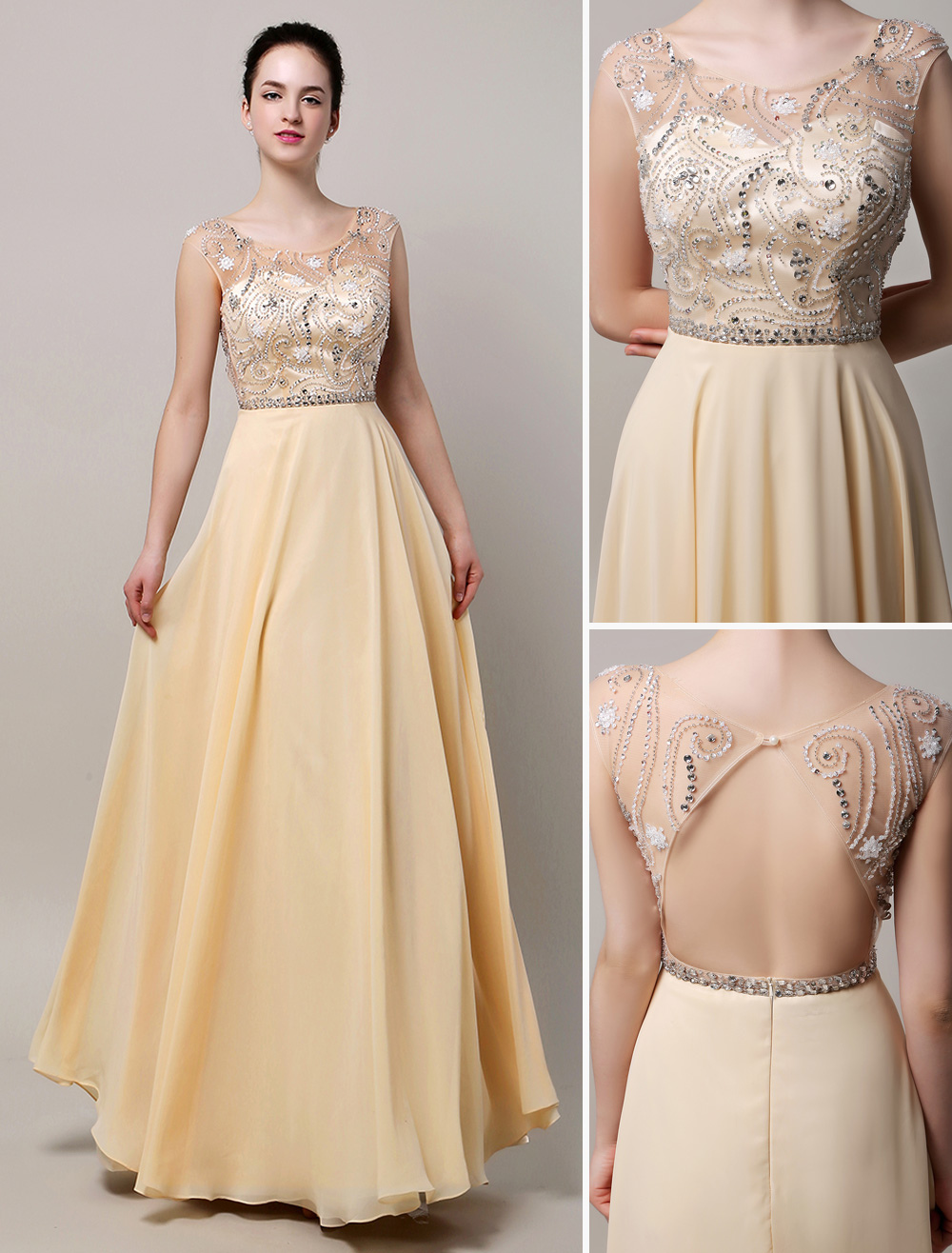 Champange Floor Length Chiffon Prom Dress with illusion Neckline and Open Back