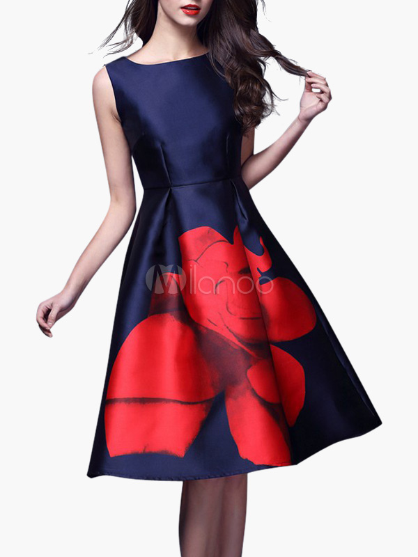 Deep Blue Big Flower Vintage Dress
