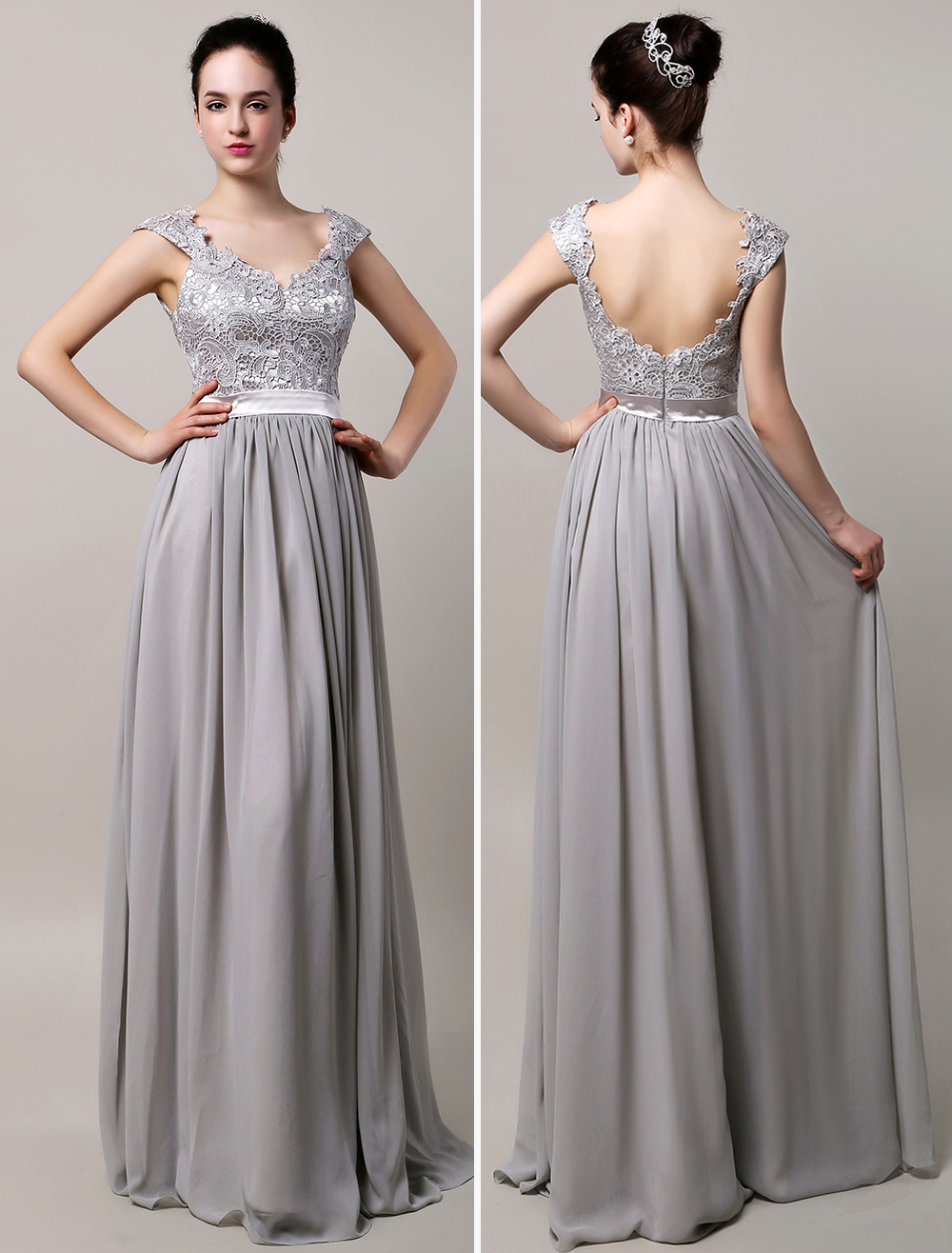 Silver Chiffon Evening Dress Lace Strapes Floor Length Party Dress V Neck Backless Prom Dress