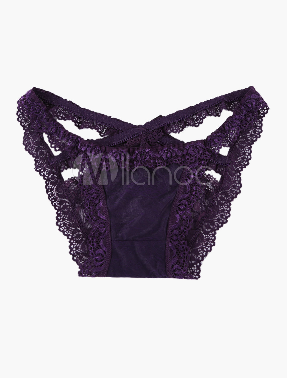6829b4826 Sexy Lace Panties Purple Bow Underwear For Women - Milanoo.com