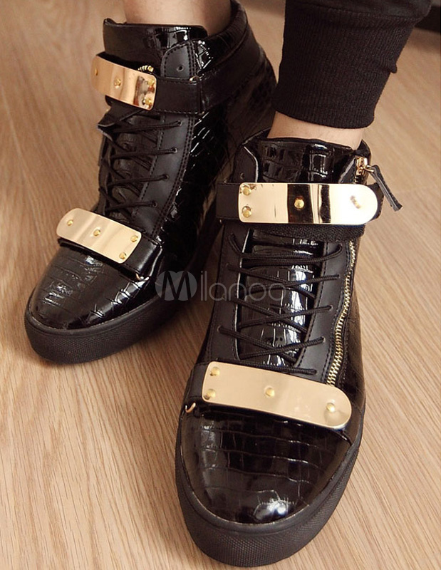 Black Monk Strap PU Leather Round Toe Sneakers