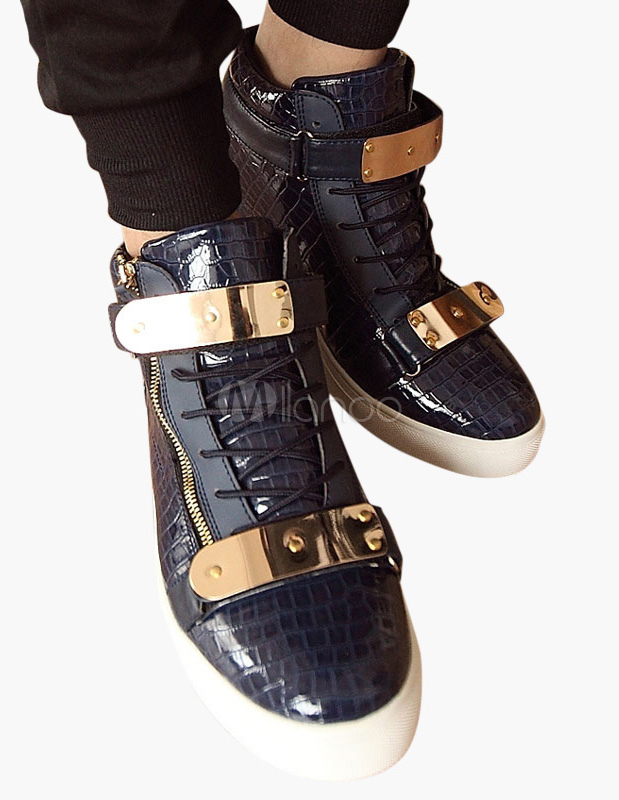 Buy Blue Monk Strap Round Toe PU Leather Sneakers for $30.39 in Milanoo store