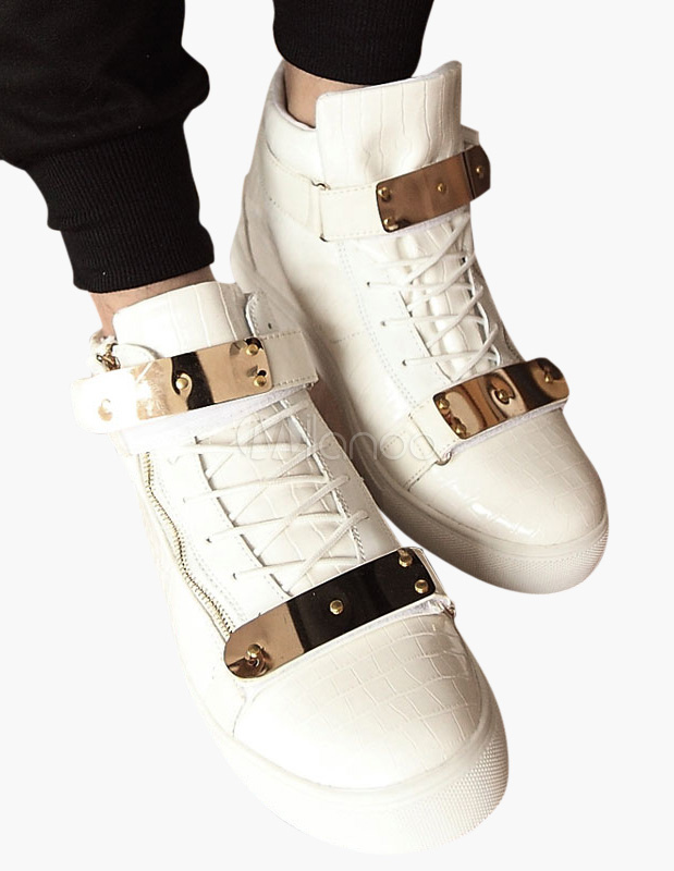 Buy White Monk Strap Leather Sneakers for $30.39 in Milanoo store
