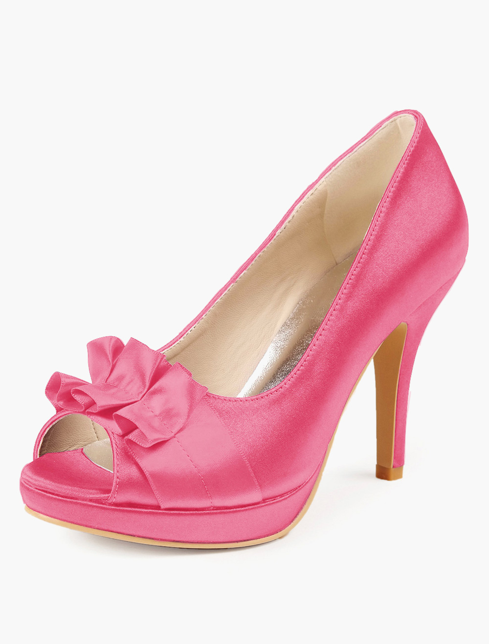 Bow Decor Peep Toe Silk And Satin Bridal Pumps
