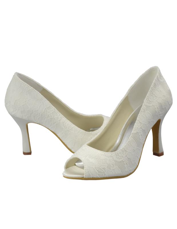 f52164f87400 Sweet Ivory Lace Peep Toe High Heel Wedding Pump Shoes - Milanoo.com