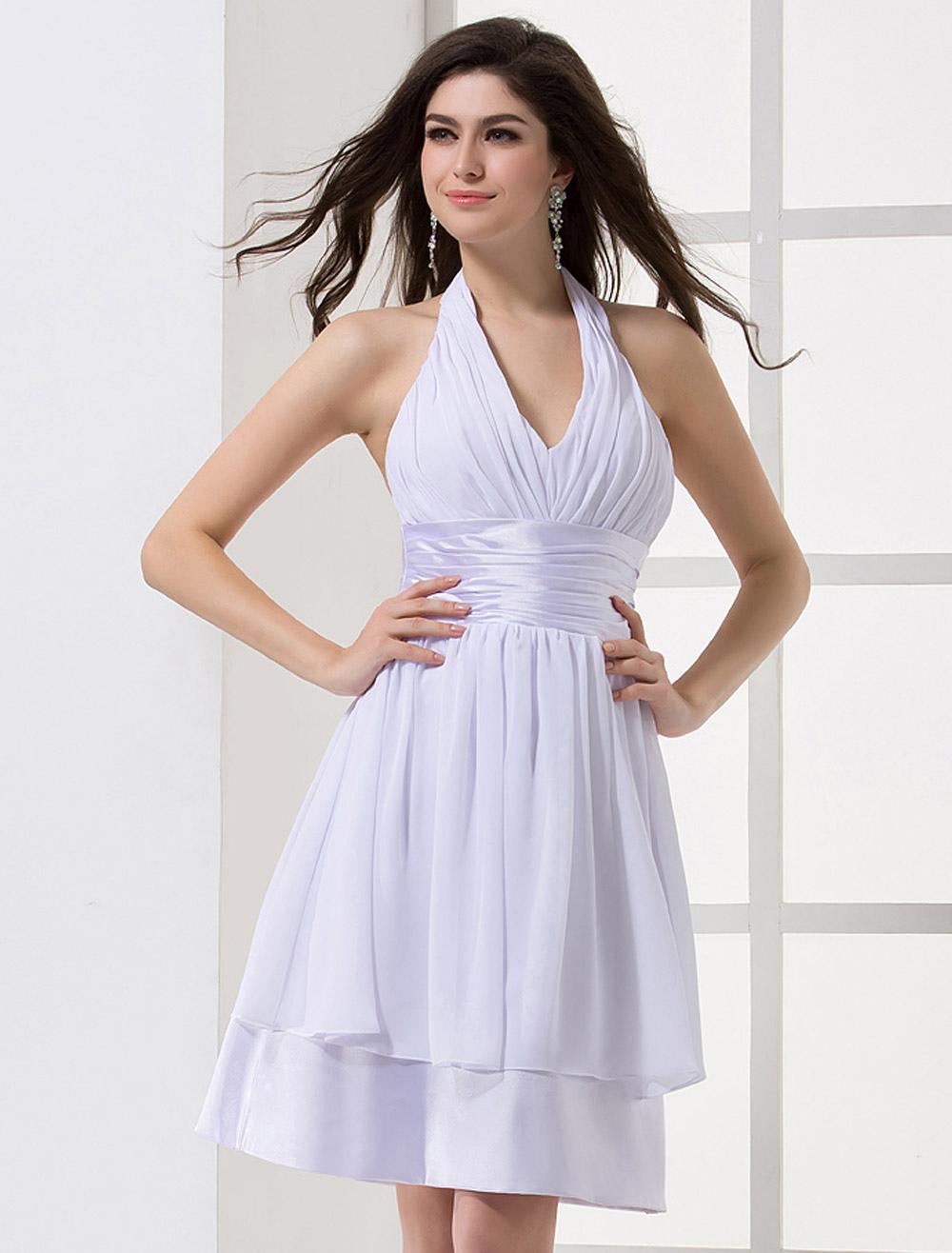 Beautiful Classic White Satin Halter Women S Evening Dress Milanoo Com