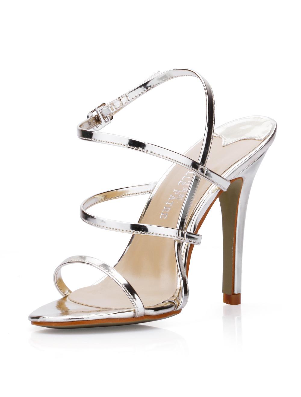 Black PU High Heel Gladiator Sandals