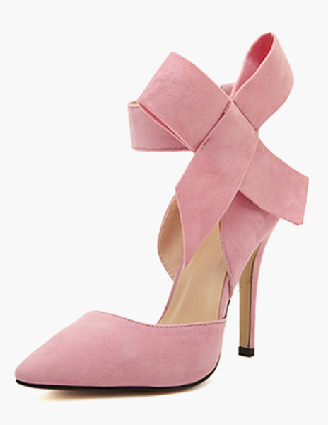 66cdbb20645e Pink High Heels 2019 Women Suede Shoes Pointed Toe Bow Ankle Strap Heels-No.