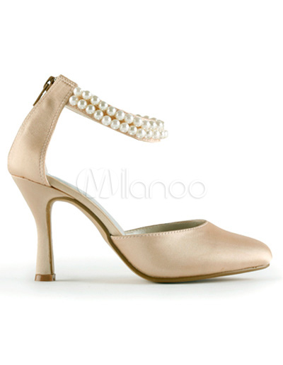 Champagne 3 1 5 Heel Ankle Strap Satin Wedding Pumps Milanoo Com