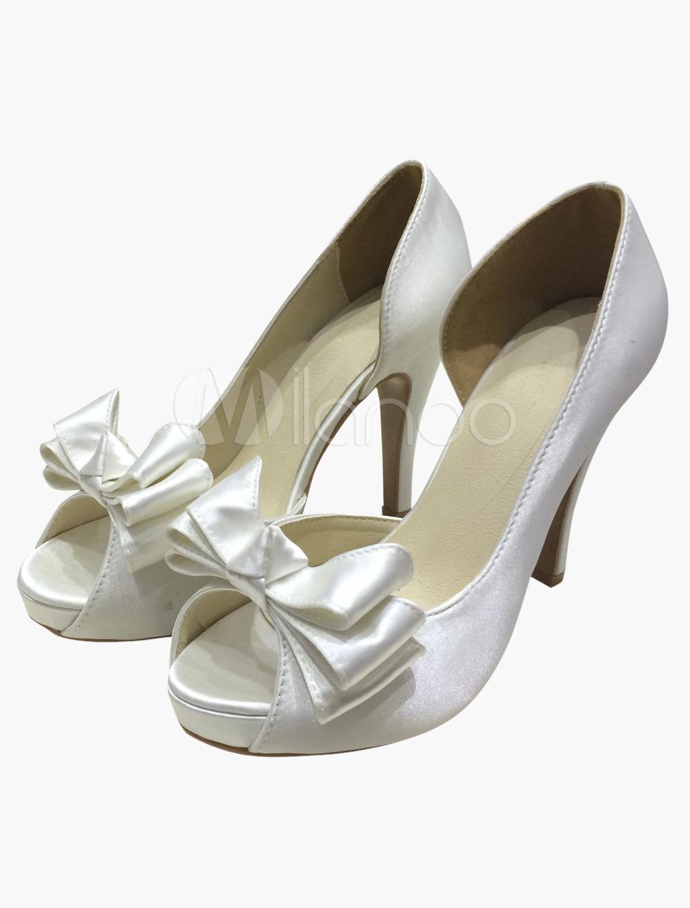 Chaussures de mariage en soie et satin avec noeud -No.1 ...