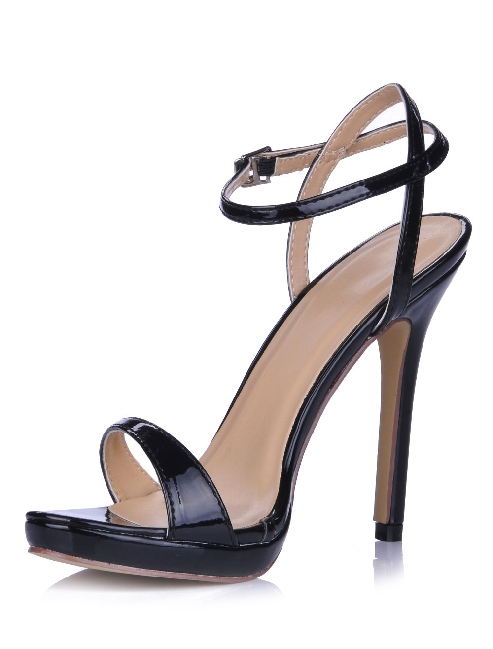 Open Toe Patent Leather Dress Sandals With Buckle