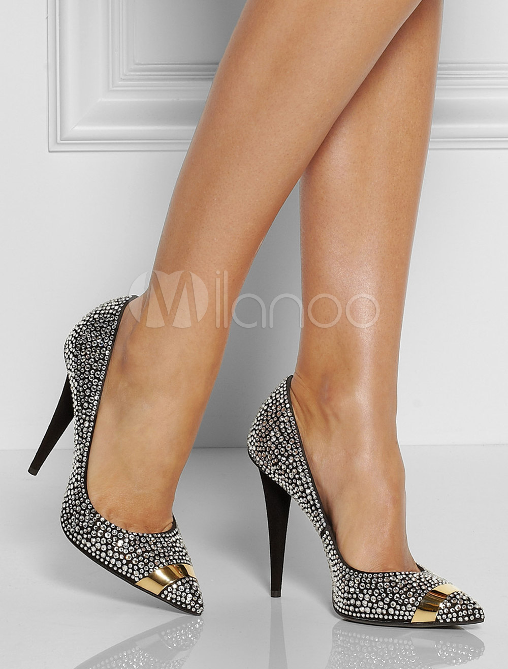 Buy Black Rhinestone Sheepskin Suede Pointed Toe Pumps for $80.99 in Milanoo store