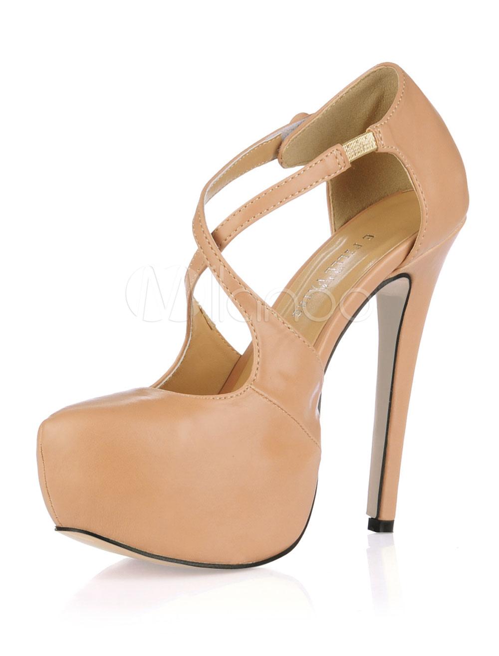 8ff9c1999d7 Zapatos de Tacón Alto para Mujer 2019 con Plataforma Punta de Almendra  Entrecruzado con Tacón Aguja - Milanoo.com