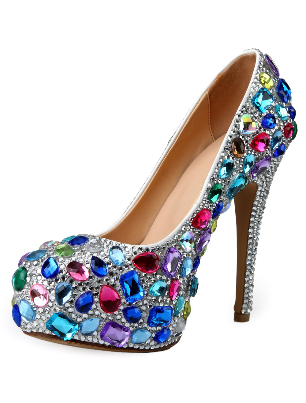 Sexy Multi Color Stiletto Heel Patent PU Round Toe High Heels For Woman