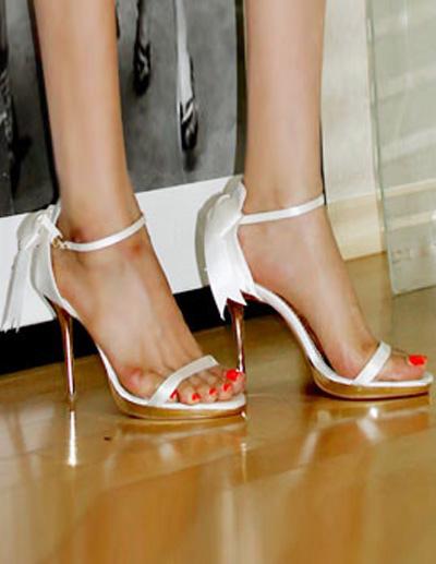 Sweet Silk And Satin Bow Stiletto Heel Bride's Sadals