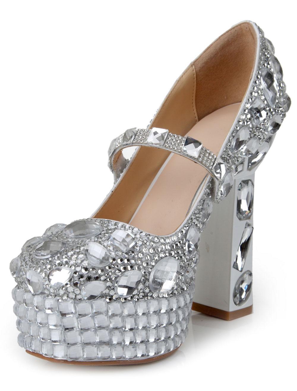8e841a7e4bc Attractive Silver Patent PU Round Toe Chunky High Heels For Women -  Milanoo.com