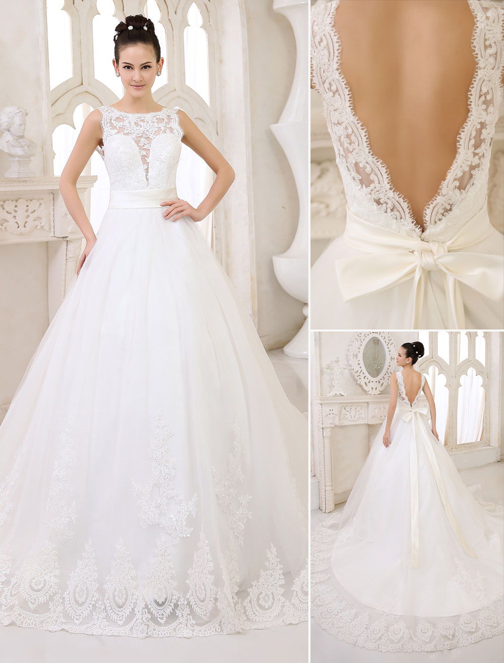 Wedding Dresses Ivory Backless Bridal Gown Lace Applique Ribbon Sash Illusion Chapel Train Wedding Gown Milanoo