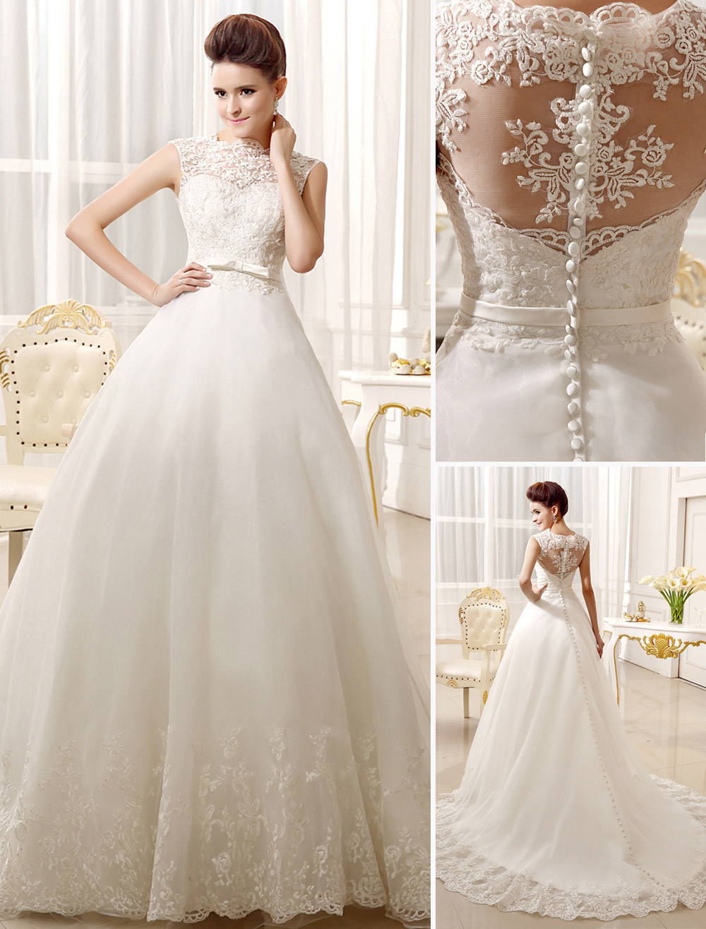 Wedding Dresses Lace Applique Bridal Dress Bow Sash Sweetheart Illusion Train Wedding Gown