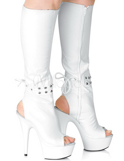 White 5 7/10'' High Heel 1 4/5'' Platform Knee High Patent Leather Sexy Mid Calf Boots