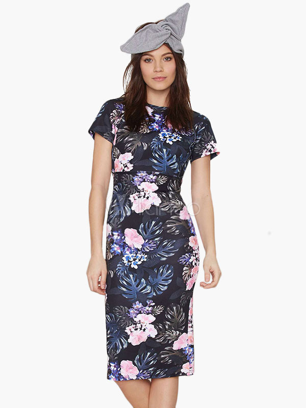 2019 Best Seller Cut Out Polyester Floral Print Backless Bodycon Dress for  Women -No. e4667edaa