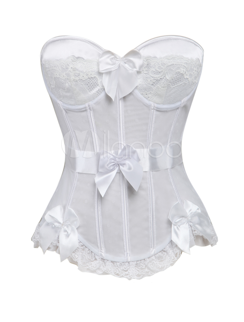 Charming White Bow Tulle Corsets For Women