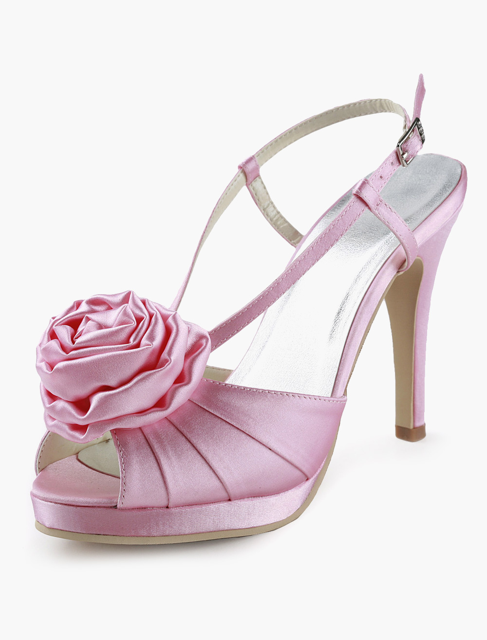 Buy Flower Peep Toe Silk And Satin Evening and Bride's Sandals for $53.99 in Milanoo store