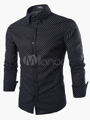Buy Cotton Polka Dot Long Sleeves Stand Collar Casual Shirt For Men for $21.24 in Milanoo store