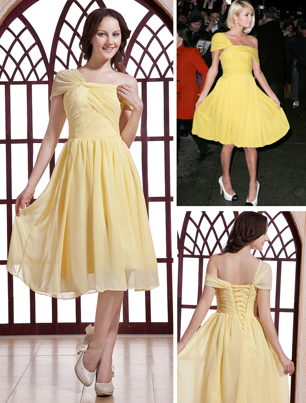25818323b1 Chiffon Celebrity Yellow Dress Paris Hilton Daffodil Satin One Shoulder  Bridesmaid Dress - Milanoo.com