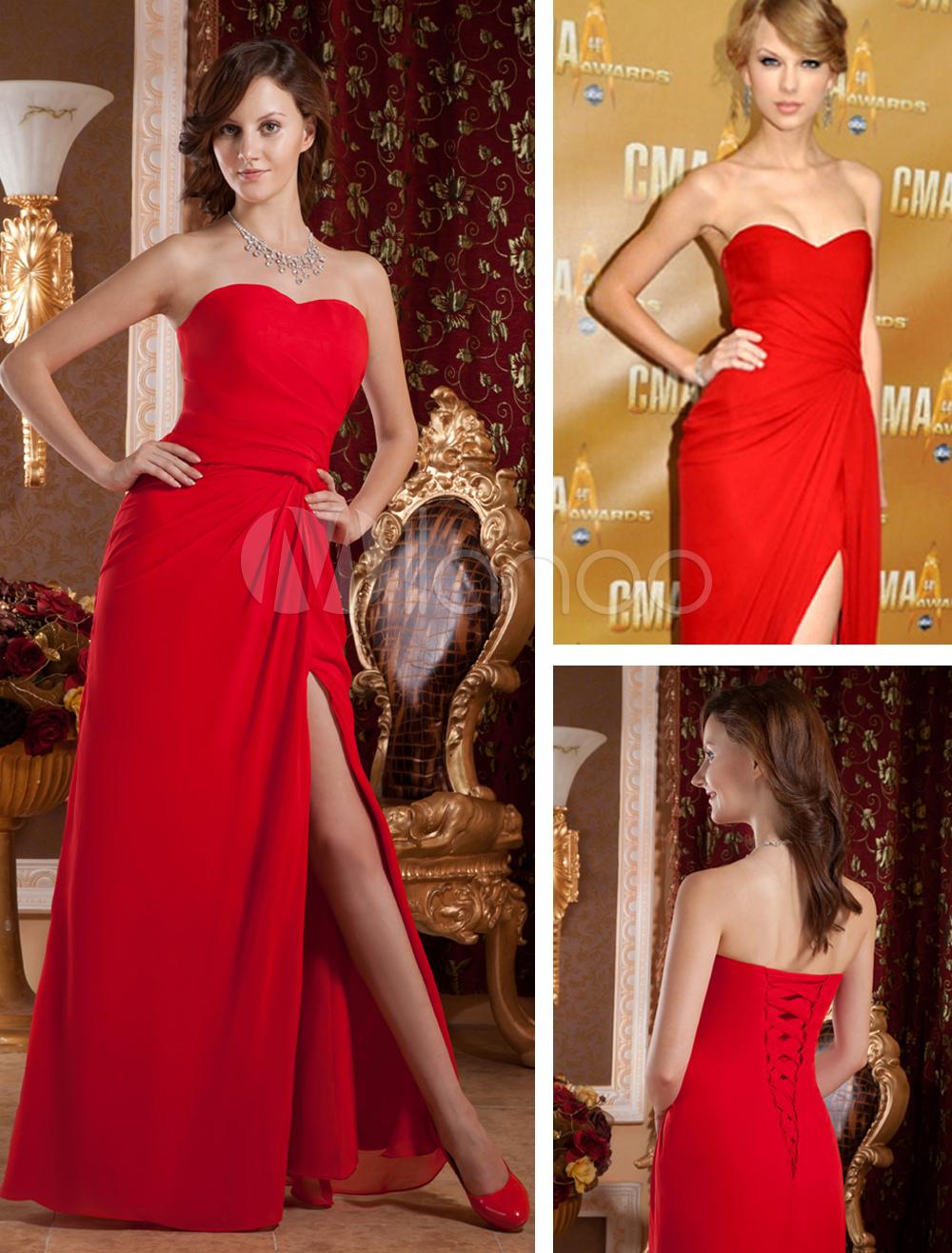 8ee7813e0ae1 Abito di Gossip Girl rosso attillato elegante in chiffon - Milanoo.com