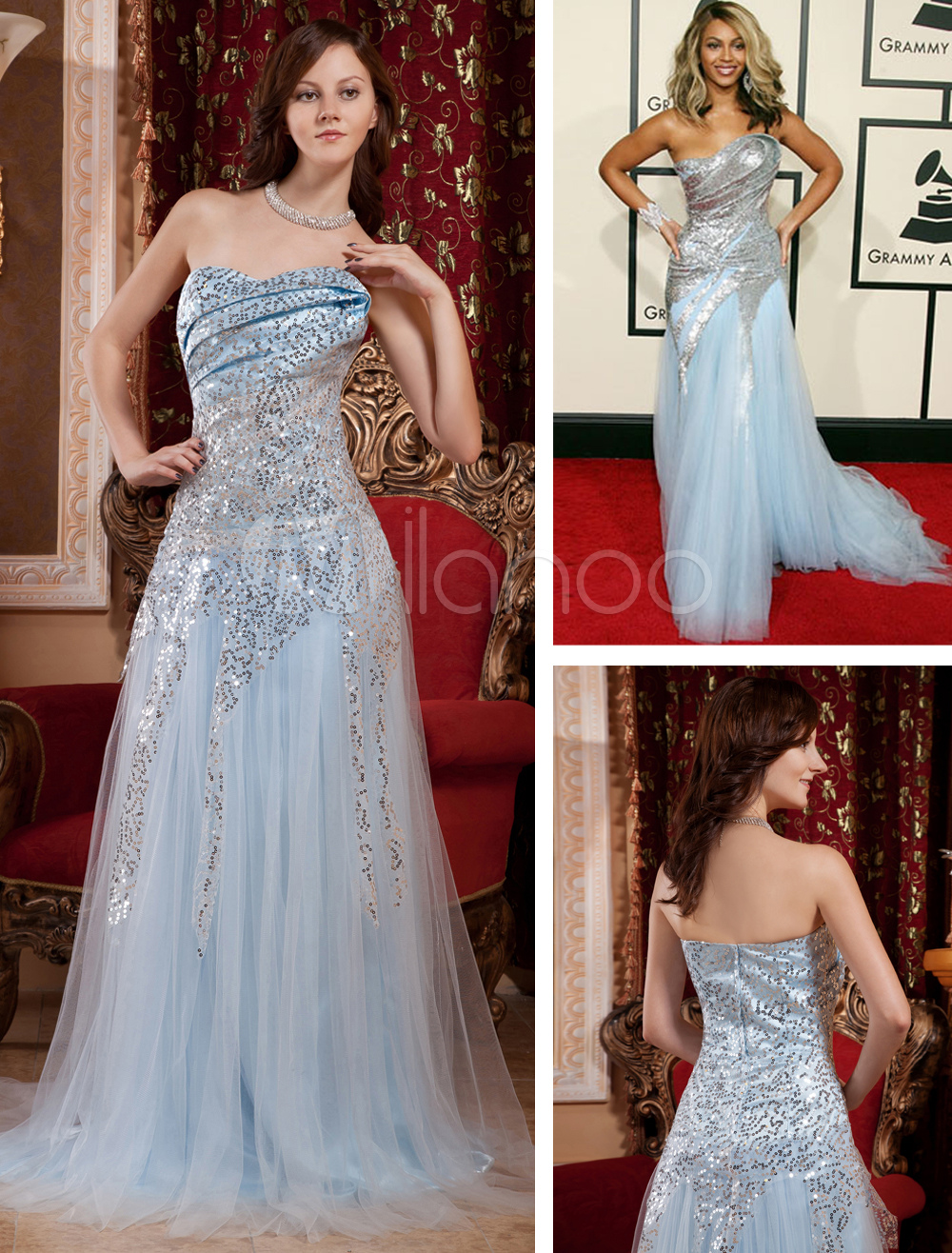 Red Carpet Dress Sequin Celebrity Dress Pastel Blue Strapless A Line Formal Dress With Train