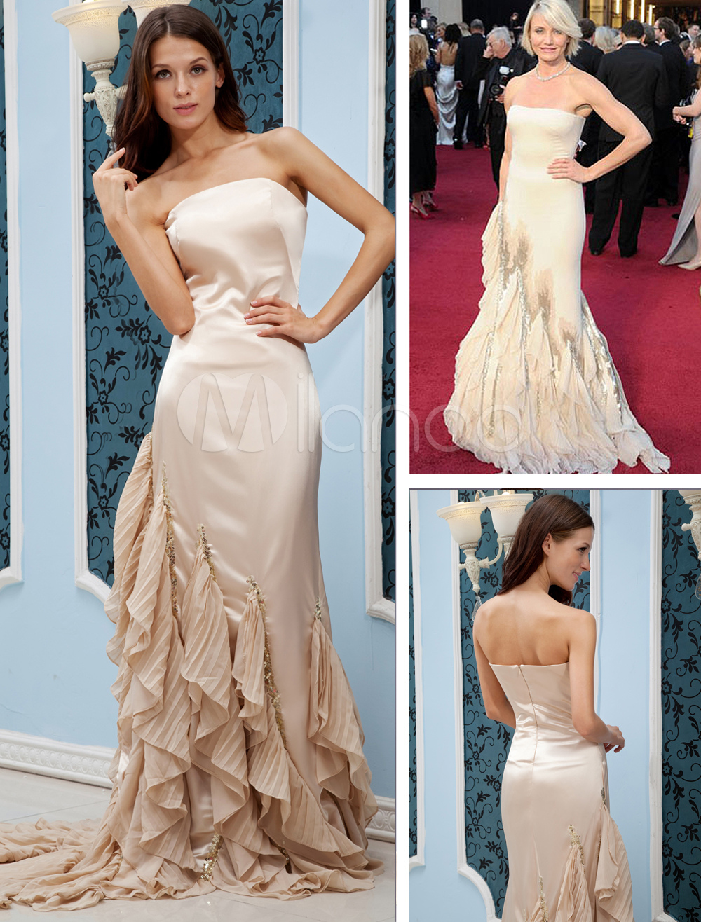 Champagne Chiffon Strapless Mermaid Trumpet Cameron Diaz Oscar Dress