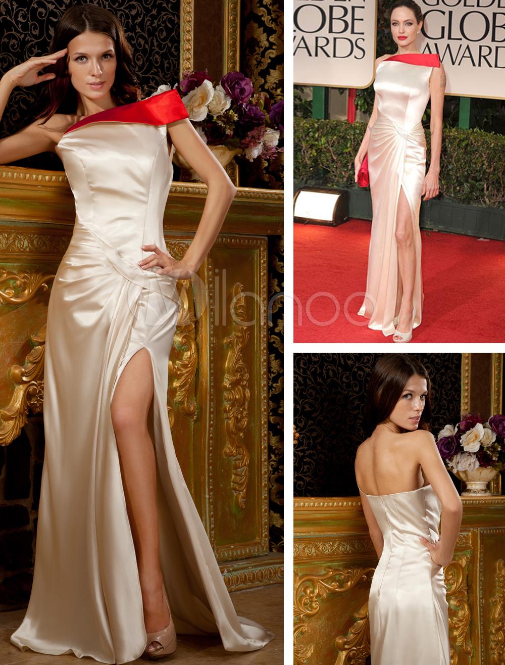 Champagne One Shoulder Side Splitting Evening Golden Globe Dress