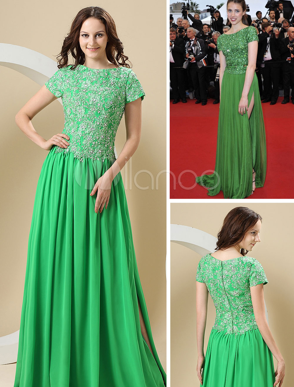 Green A-line Bateau Neck Chiffon Sequin Cannes Film Festival Dress